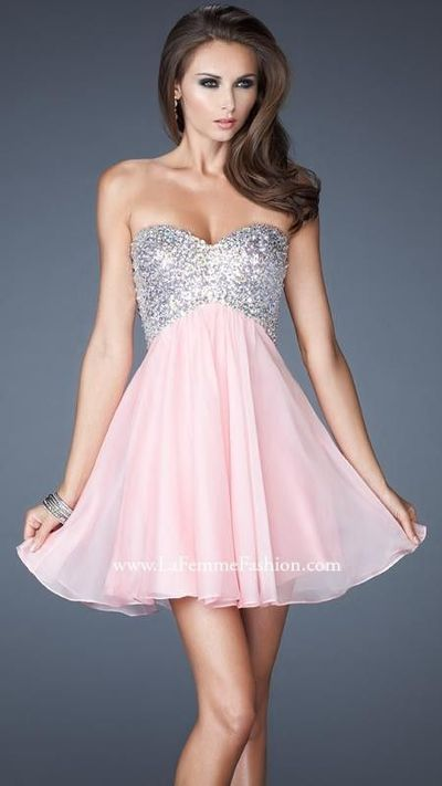 Cotton Candy Pink Strapless Sweetheart Gown by La Femme 17902
