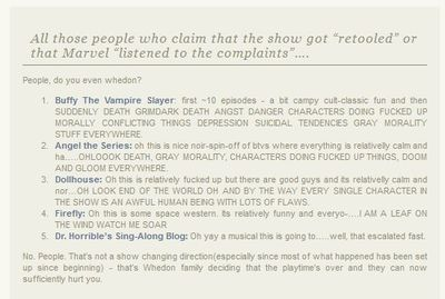 """""""Whedon family deciding that the playtime's over and they can now sufficiently hurt you."""" <-- this seems accurate."""
