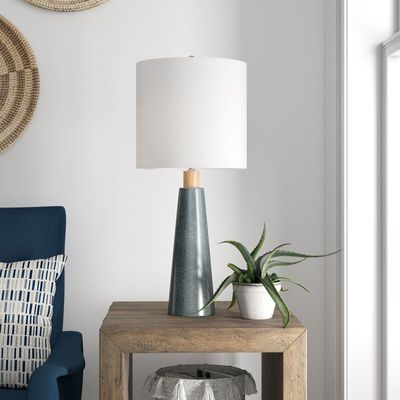 "Pindall Ceramic and Wood Linen Shade 29"" Table Lamp $135"