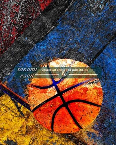 A modern basketball artwork. A nice colorful basketball art print for the home or dorm. The basketball art print comes in different sizes. #basketball #sports #basketballposters #urbanart