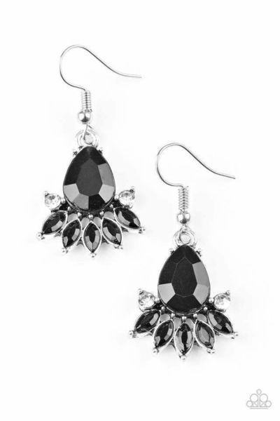 Paparazzi Meant To BEAD - Faceted Black Bead White Rhinestone Accent Earrings $5.00