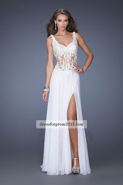 Side Spilt Floral Illusion Corset Prom White Gown