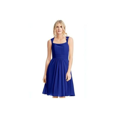 Royal blue Azazie Siena - Chiffon And Lace Knee Length Illusion Dress - Simple Bridesmaid Dresses & Easy Wedding Dresses