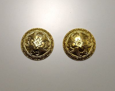 14 Karat Gold Plated Low Dome Ornate Circle Magnetic Clip or Pierced Earrings $45.00 Designed by LauraWilson.com