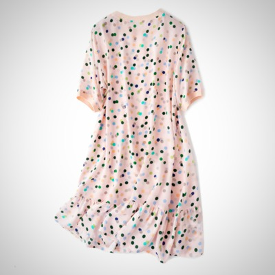 Crepe Dots Printed Silk Dress $80.99