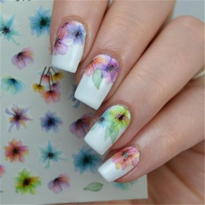 BORN PRETTY 1 Sheet Colorful Nail Art Water Decals Chinese Ink Flower Painting Nail Transfer Stickers Nail Art DIY Decoration Water Slide $6.49