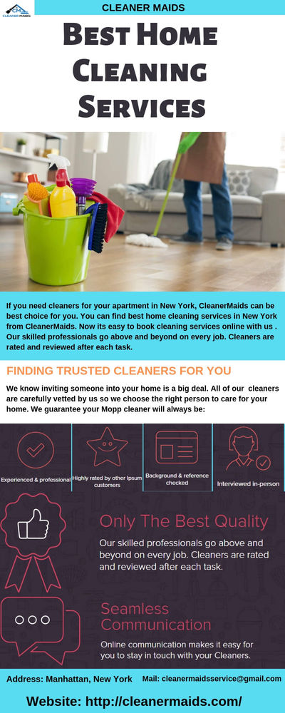 Get best home cleaning services in New York based area from Cleaner Maids. We also offer online services , so you can book online today. Online communication makes it easy for you to stay in touch with your Cleaners. Select your ZIP code, number of bedroo...