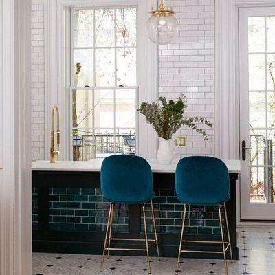 Bluegrass Brooklyn Brownstone Subway Tile - Colorful alternative to contrast White Subway Tile!