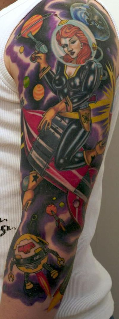 tattoo sleeve | ... girl outer space theme sleeve tattoo buddhist theme arm sleeve tattoo