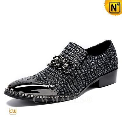 Men Leather Shoes | CWMALLS® Madrid Embossed Leather Brogues CW708001 [Patented Design]