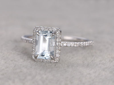 5X7MM EMERALD CUT AQUAMARINE AND DIAMOND ENGAGEMENT RING 14K WHITE GOLD CLAW PRONGS STACKING RING