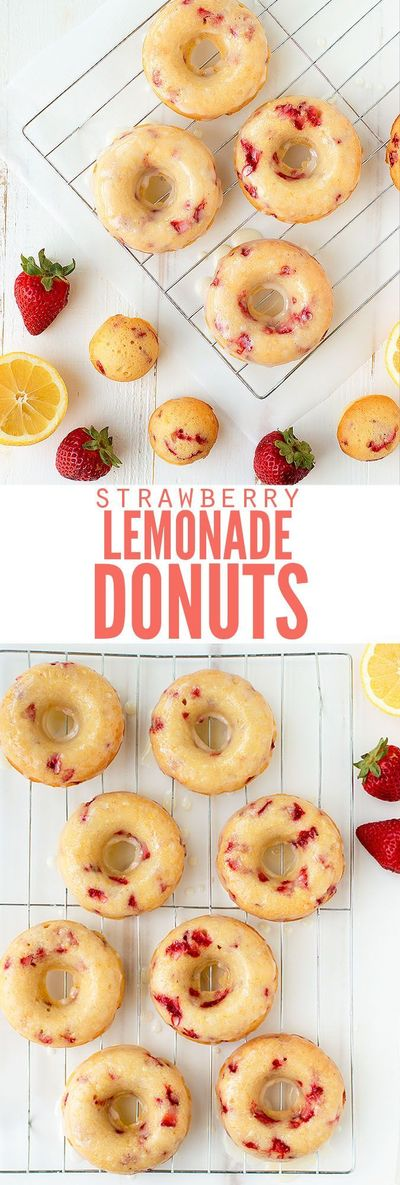 Delicious and easy recipe for baked strawberry lemonade donuts with lemon glaze. Skip the unhealthy cake mix and make this from scratch, sprinkles optional!