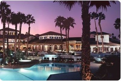 Rancho Las Palmas...A Desert Favorite! Get your golf gear ready for a few holes and hang out out in the Lazy River! Love Blue Ember!