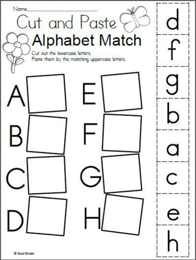 Free Spring Alphabet Matching Worksheet for preschool and kindergarten. There are four pages in this download which include the entire alphabet. Students cut an