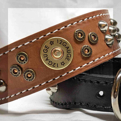 Leather Dog Collar for Large Dogs with Bullet Rivets and Studs, Western, Tapered, 1.5 inch wide $57.99