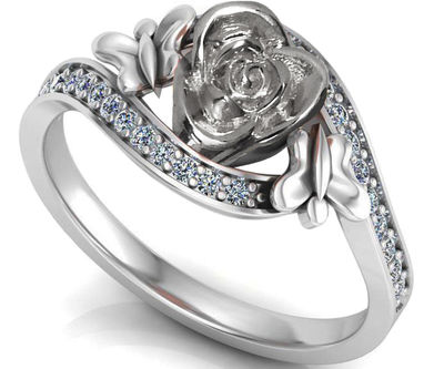 Silver Love Ring Flower Ring Promise Ring Unique Engagement Ring with Side Diamonds Floral ring Birthday Gift For Her Gift $393.70