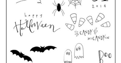 My No.3 and I were doodling yesterday and we got on the topic of Halloween. We had a little fun drawing a few not-too-spooky pictures which turned out so cute I