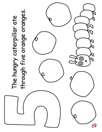 THE VERY HUNGRY CATERPILLAR COLOURING Pages 1-5 / Preschool Items -  Juxtapost