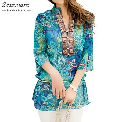 2017 Summer Women Shirt Blouse Style Fashion Chiffon Half Sleeve Plus size 5XL Floral Casual Top Embroidery Woman Tunic Blouses $24.65