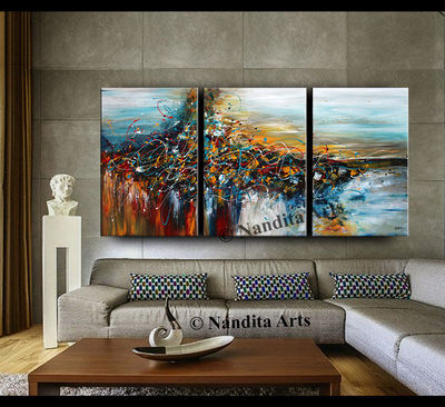 "Painting, Jackson Pollock Wall Art 72"" Blue large Painting on Canvas Modern Wall Art Original Luxury Red Artwork by Nandita Albright $741.00"