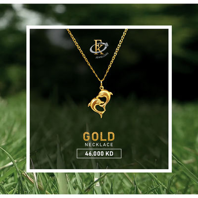 A Double Dolphin Necklace you can carry everywhere you go, while at the same time you display your support and love for this unique animal. Order Now: http://bit.ly/FKJNKL1704  �–� Product type: Gold Necklace  �–� Price: 46.000 KD �–...