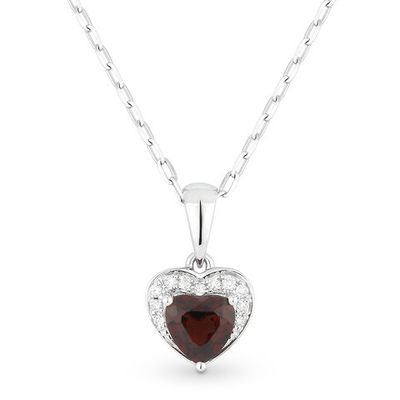 0.64ct Heart-Shaped Garnet & Round Diamond Heart Charm Pendant & Chain Necklace in 14k White Gold