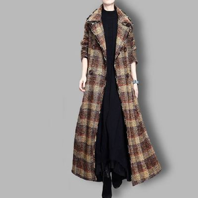 Winter Brown Plaid Wool Coat, Maxi Large lapel Wool Coat Cloak, Women Coat, Plus Size Clothing, Long Coat, Double breasted Winter Clothing