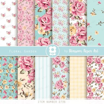 Shabby Scrapbook Paper Pack, Floral Digital Papers, Rose Digital Scrapbooking, Digital Download Rose Papers