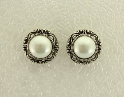 22 mm Magnetic Antique Style Pearl Button Earrings $36.00 Designed by LauraWilson.com