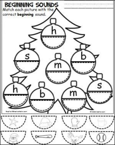 Free Christmas Cut And Paste Beginning Sounds Activity For T