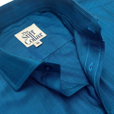 Midnight Blue Herringbone 2 Ply Premium Giza Cotton Regular Fit Shirt �'�1999.00