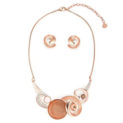Get this beautiful peach swirls colour necklace set Yoko's fashion, the leading wholesaler of statement necklaces in Manchester.
