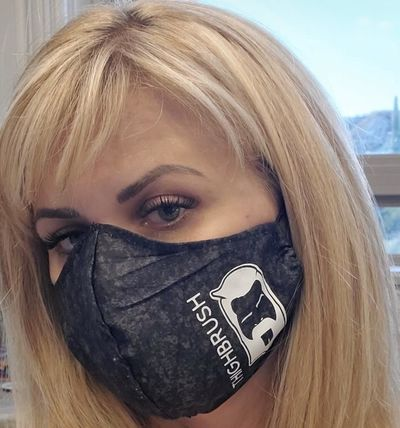 "THIGHBRUSH® ""Quarantine"" Logo Face Mask - Black with White Logo/Print with Elastic Ear Loops"