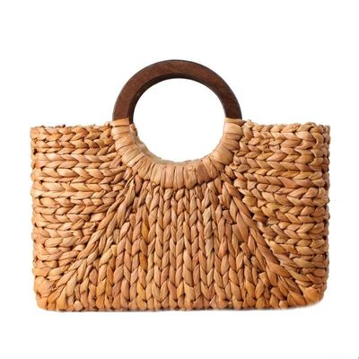 Women Vintage Rattan Handbag Female Bohemian Summer Beach Straw Bags Lady Simple Weave Bag Handmade Casual Large Tote $40.80