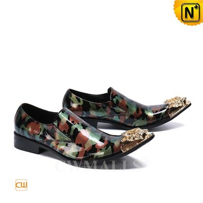 Men Leather Shoes   Exotic Camo Printed Leather Dress Shoes CW719276   CWMALLS.COM