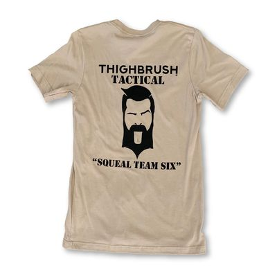 """THIGHBRUSH® TACTICAL - ARMED FORCES COLLECTION - """"Squeal Team Six"""" - Men's T-Shirt - Khaki and Black"""