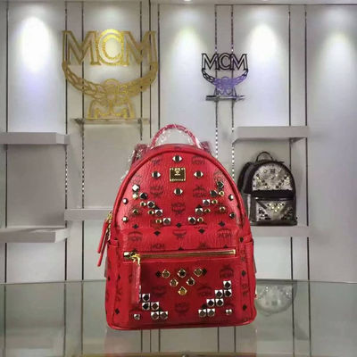 MCM Mini Stark M Odeon Studs Backpack In Red