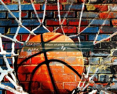 A colorful basketball art print by takumipark. A modern basketball artwork that comes in different sizes. #basketballartist #basketballart #homedecor #urbanart #streetart