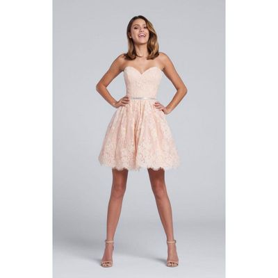 Ellie Wilde - Lace Sweetheart A-Line Dress in Peach EW117119 - Designer Party Dress & Formal Gown