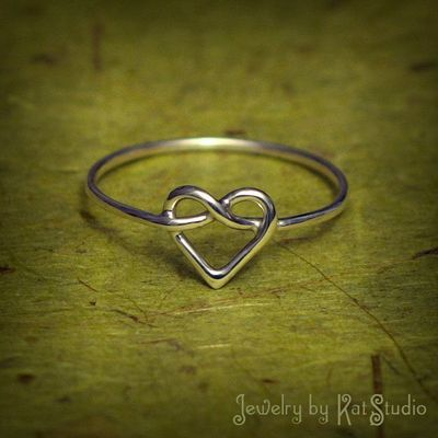 Knot Heart Ring - love knot ring - Infinity Heart - Sterling Silver 925