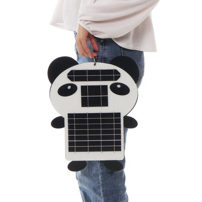 6W 5V Portable Panda Shape Monocrystalline PET Solar Panel with USB Port
