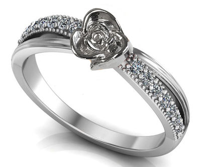 Silver Love Ring Flower Ring Promise Ring Unique Engagement Ring with Side Diamonds Floral ring Birthday Gift For Her Gift $342.30