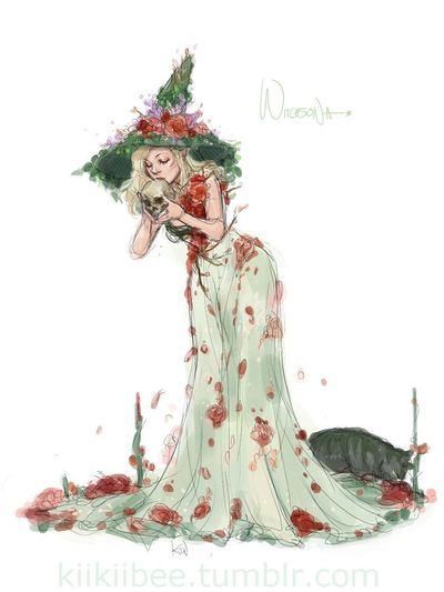 kiikiibee: �€œPerstephanie's Witchsona! Roses, pomegranate flowers, lavender, and apple blossoms. Plus a big mossy kitty familiar. �€