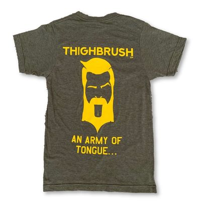 "THIGHBRUSH® TACTICAL - ARMED FORCES COLLECTION - ""An Army of Tongue"" Men's T-Shirt - Military Green and Gold"
