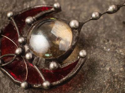 Stain Glass Red Brooch, vintage brooch, wine pin, pin up jewelry, red art glass, steampunk brooch, garnet brooch $24.00