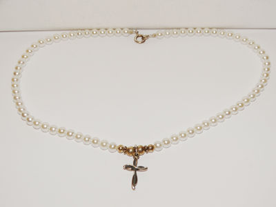 Sterling Silver Fresh Water Pearl Cross Necklace, $42.75