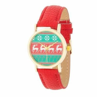 Gold Holiday Watch With Red Leather Strap TW-14439-RED @The Lavender Lilac
