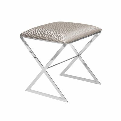 X Bench Side Stool in Nickel with Silver Fabric $1013.00