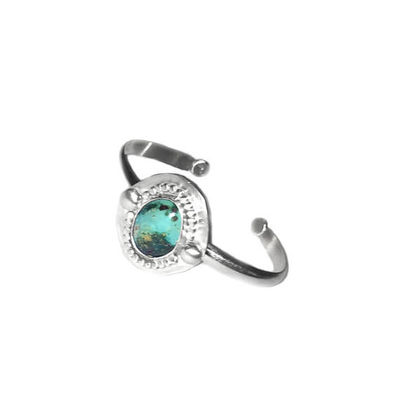 Chunky Silver Boho Turquoise Cuff Bracelet   Blue And Green Natural Nevada Turquoise   Holiday Gift $75.00