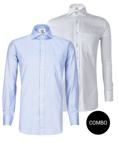 White Herringbone 2 Ply and Blue Herringbone 2 Ply Regular Fit Cotton Shirt Combo Pack �'�2799.00